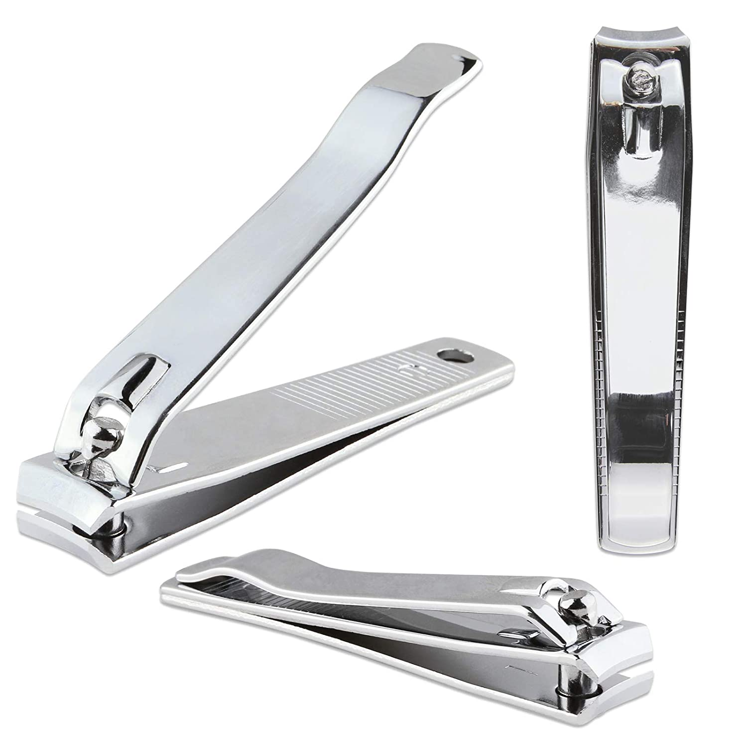 Beauticom Professional Sharp Stainless Silver Steel Finger Nail & Toe Nail Clippers for Acrylic Nails (3 Pieces, Curved)