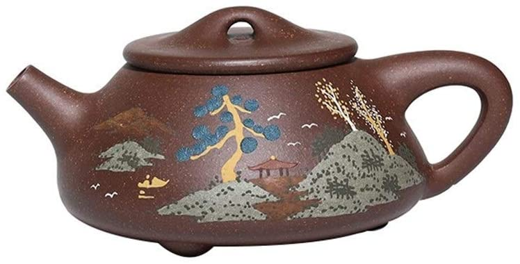 MADONG Ore sand teapot, landscape stone scoop handmade tea kung fu tea (Color : Red)
