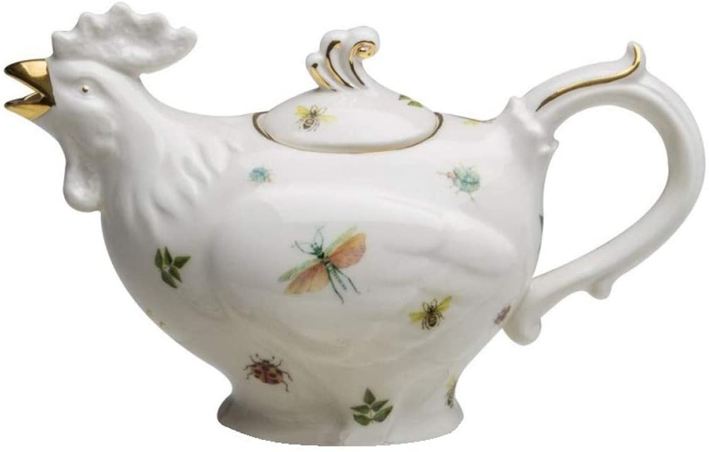 Coastline CM545AK-DW237 Dragonfly And Rooster Porcelain Teapot 16 Ounce
