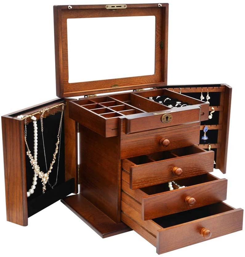 Rziioo Large Wooden Jewelry Box, Built-in Mirror and Lock, Double Door Drawer Jewelry Storage Box 10.8L x 8.3W x 12H inch