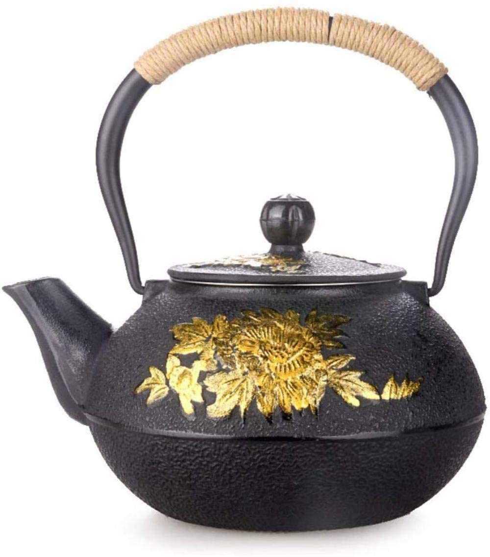 KONGZIR Cast Iron Teapots 1.2L Teapot Teapot Kettle Black Carved Peony Flower Health Cooking Teapot Family Afternoon Tea