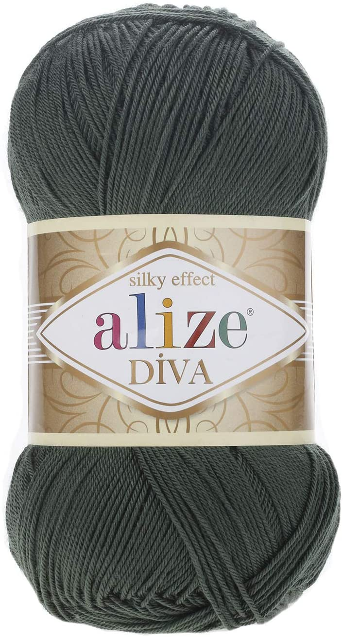 Hand Knitting Yarn 100% Microfiber Acrylic Yarn Alize Diva Silk Effect Thread Crochet Art Lace Craft Lot of 4 skeins 400gr 1532yds Color 131 Khaki
