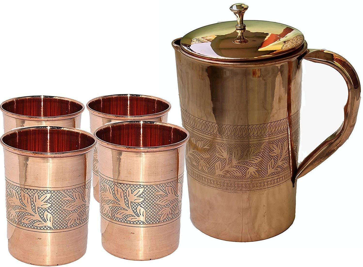 Indian Ayurveda Embossed Finished Copper Water Pitcher Copper 4 Glasses Capacity 10 Ounce with 1 Jugs Capacity 54 Ounce Set for Storing Drinking Water Ayurveda