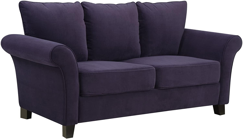 Handy Living Milan Sofa, Plum Velvet
