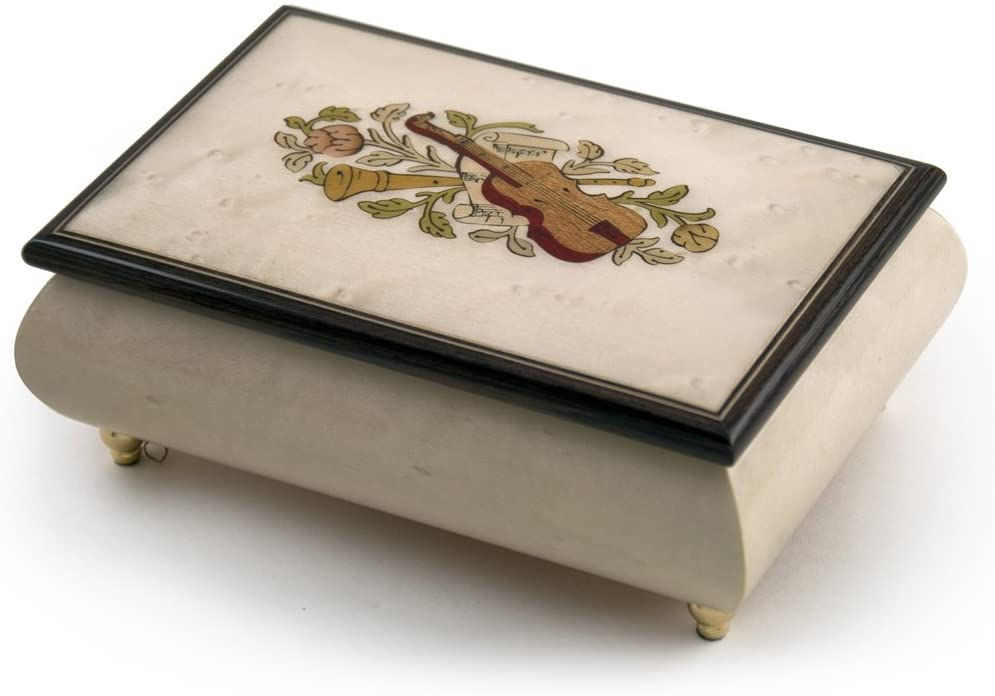 Incredible Ivory Italian Music Box with Violin and Floral Inlay - Many Songs to Choose - I Love Paris