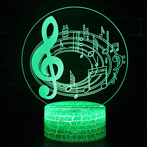 LED Night Light with Treble Notes Theme Pattern,7 Colors Changing with USB Cable,Touch Remote Control, Best for Children Gift Baby Bedroom and Party Decorations.