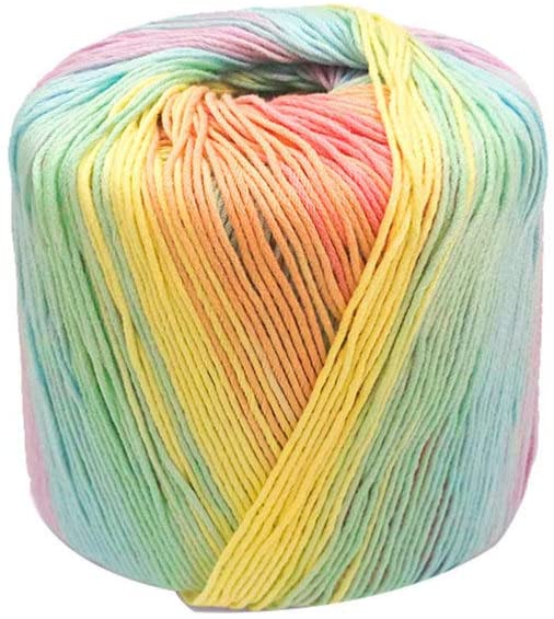 HEALLILY 1 Roll 133M Color Yarn Segment Soft Yarn Dyed Gradient Cotton Yarn Skeins Hat Shawl Line Material for Hand Knitting DIY Sweater Blanket Costume (Light Rainbow)