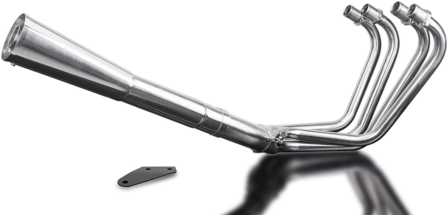 Delkevic Aftermarket Full System compatible with Kawasaki Z1 Z1A Z1B Z900with Classic Megaphone Muffler and Stainless Steel 4-1 Headers