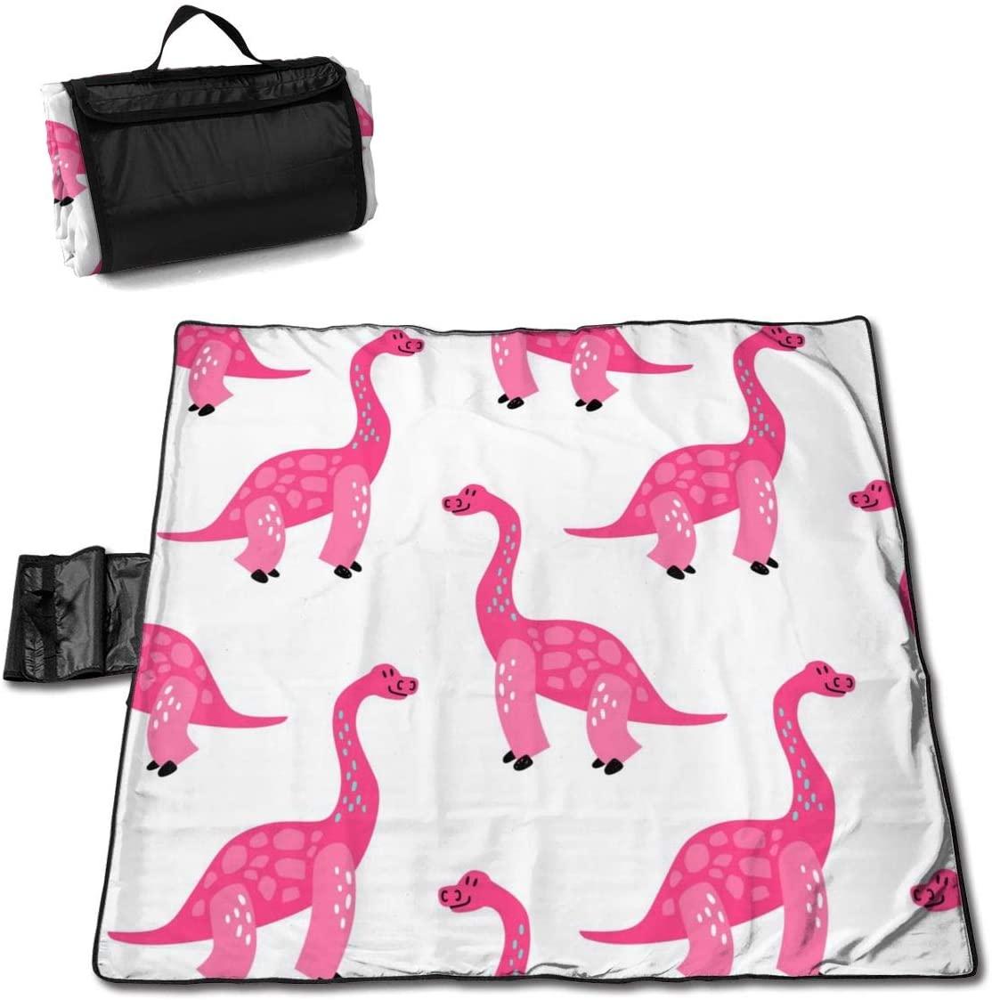 HONGSH Outdoor Picnic Blanket,Beach Blanket, Cute Pink Dinosaurs Beach Mat, Waterproof Sandproof Foldable Picnic Mat, Portable Outdoor Beach Blanket for Beaches,Camping,Hiking Picnic