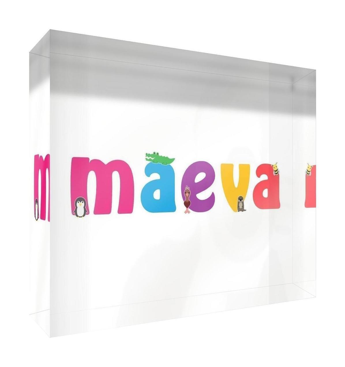 Little Helper Souvenir Decorative Polished Clear Acrylic Diamond Style Example Girl/The Name of Colourful Maeva 14.8x 21x 2cm Large