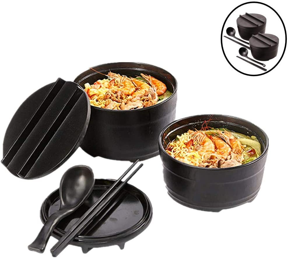DODY 2 Sets [8 Piece] 50 Ounce Large Ceramic Japanese Ramen Noodle Soup Bowl, Dishware Ramen Bowl Set with Matching Spoon and Chopsticks, for Udon Soba Pho Asian Noodles