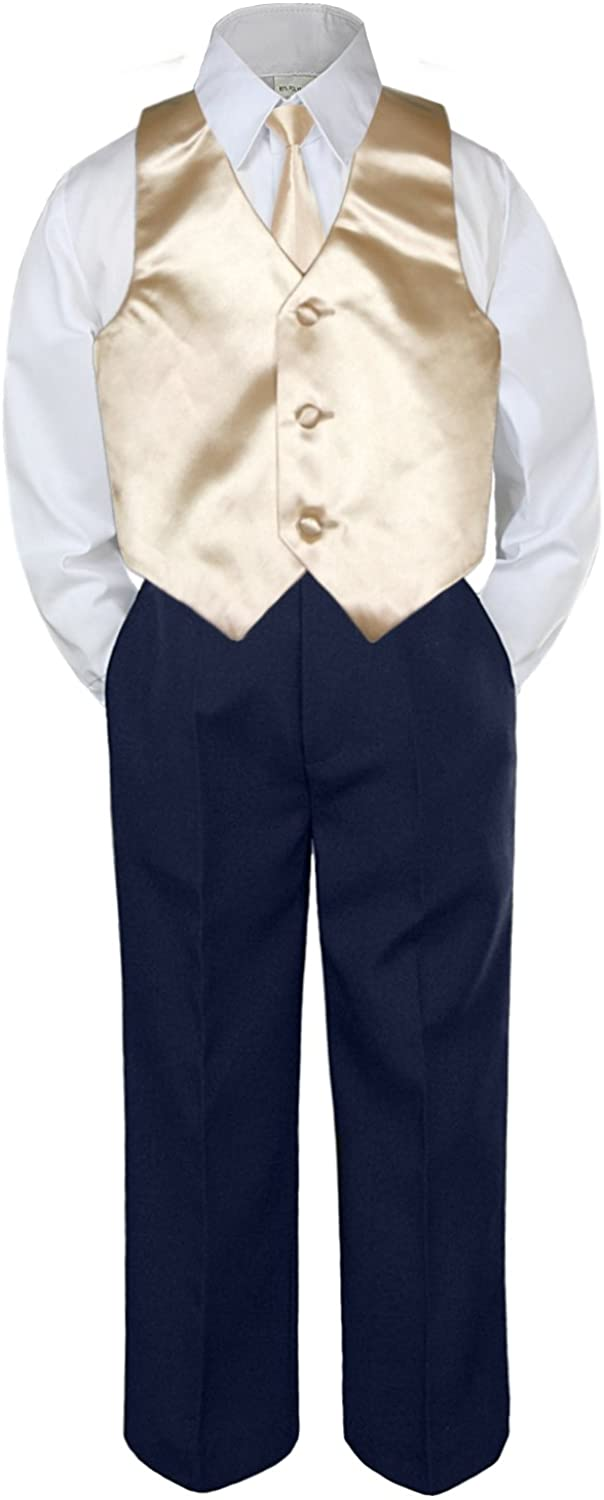 Leadertux 4pc Baby Toddler Boys Champagne Vest Necktie Navy Blue Pants Suits S-7