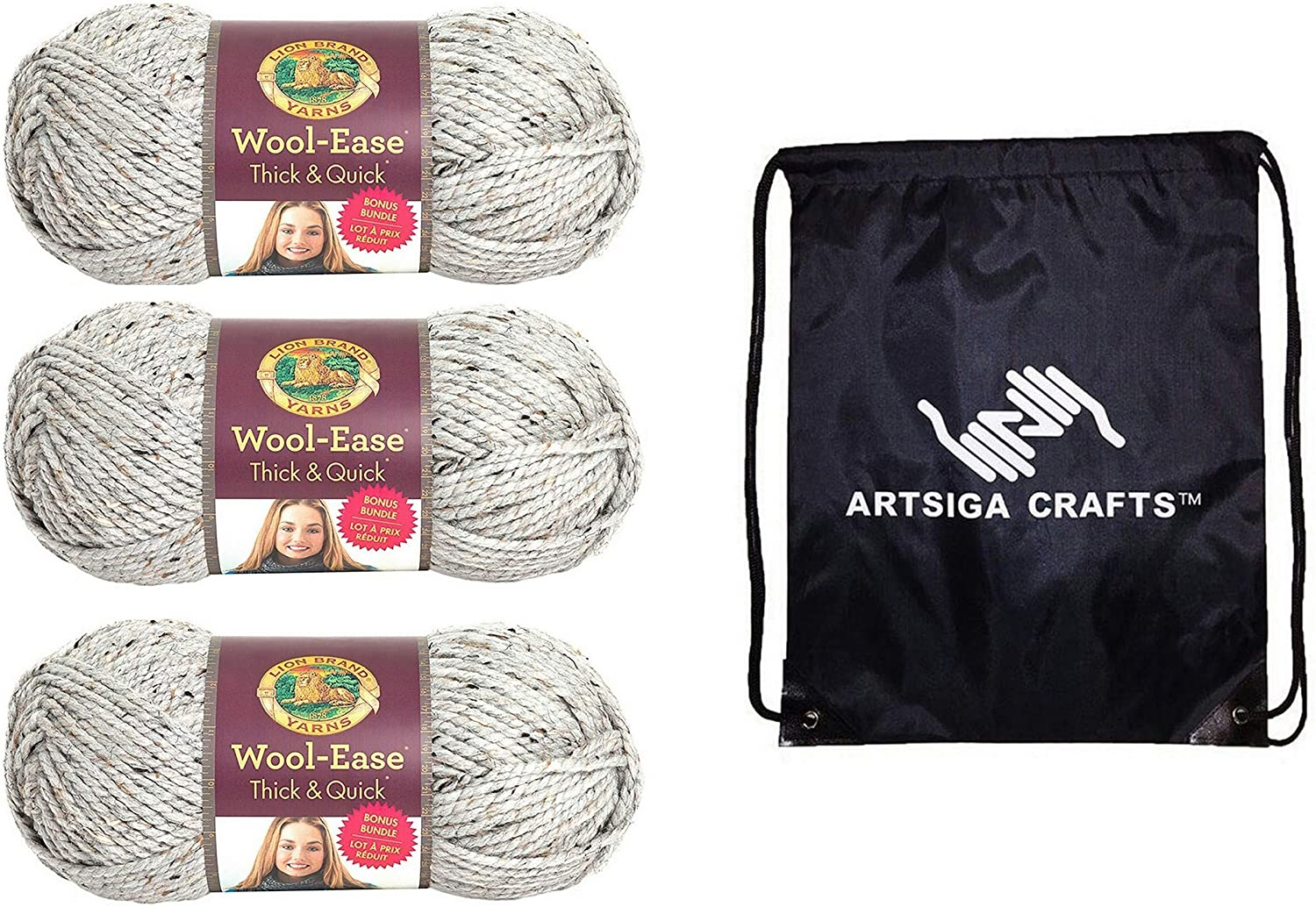 Lion Brand Knitting Yarn Wool-Ease Thick and Quick Bonus Bundle Grey Marble 3-Skein Factory Pack (Same Dye Lot) 641-154 Bundle with 1 Artsiga Crafts Project Bag