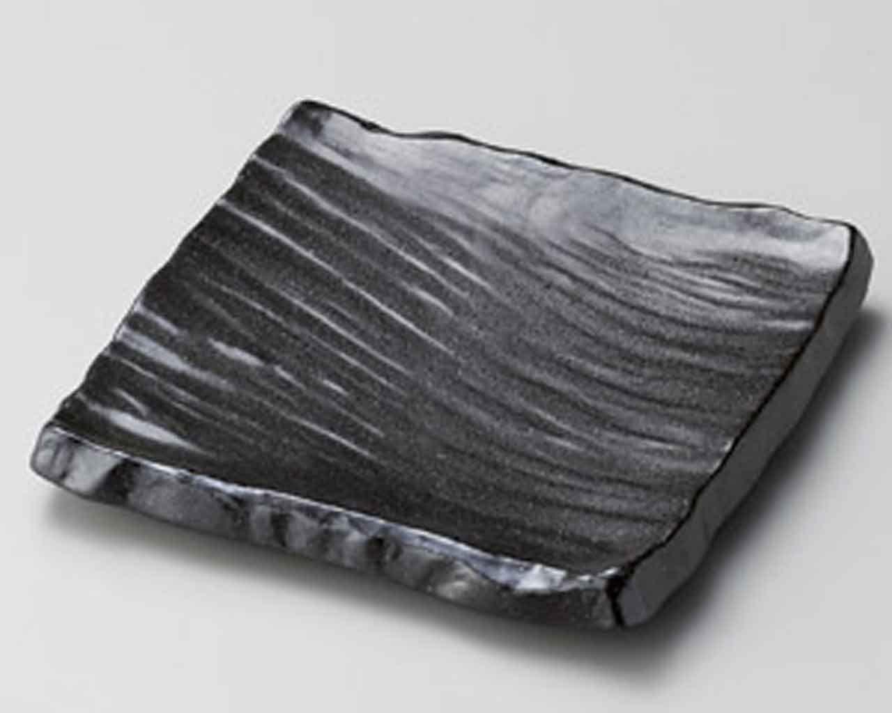 Bizen Arahori 6.2inch Set of 2 Medium Plates Black porcelain Made in Japan