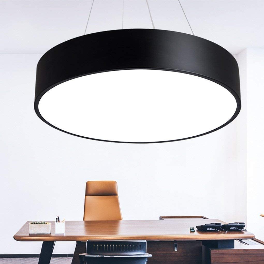 BOSSLV Led Hanging Lamp Black Iron Acrylic Chandelier Bar Shops Pendent Lamp Modern Minimalism Art Parlor Dining Hall Bedchamber Study Ceiling Lighting 38CmH9Cm White Light 6000K