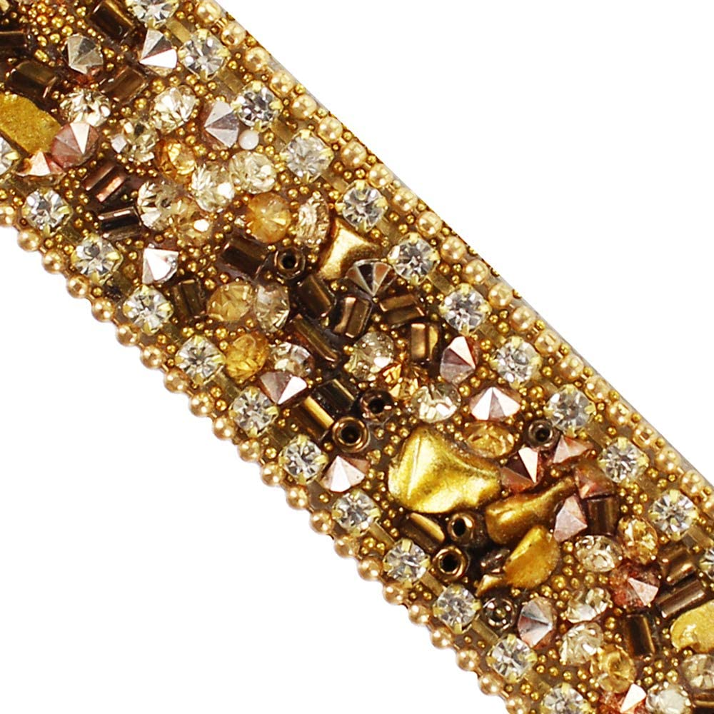 Brown Gold Hot fix Rhinestones Trim Chain Crystal Iron on Applique Trimming for Collars Sewing Accessories 5yards