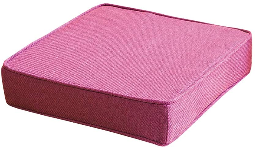 TOPYL Square Overstuffed Seat Cushion,Thicken Cotton Linen Chair Cushions Sponge,Patio Furniture Floor Seat Pads Indoor Outdoor Chair Pads Pink 60x60x5cm(24x24x2inch)