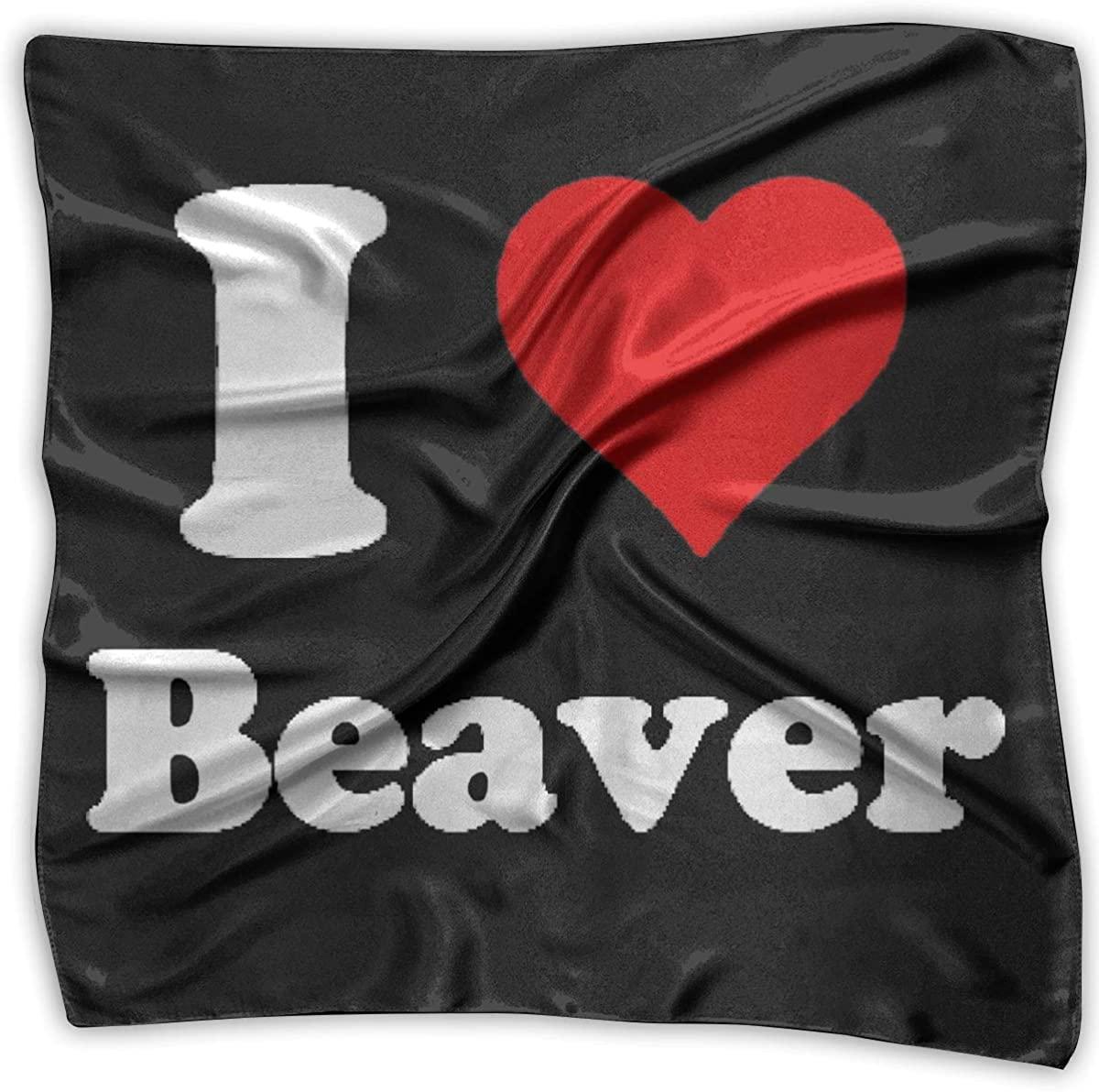 I Heart Beaver Square Handkerchiefs Shawl Bandanas Headscarf Neckerchief Headband