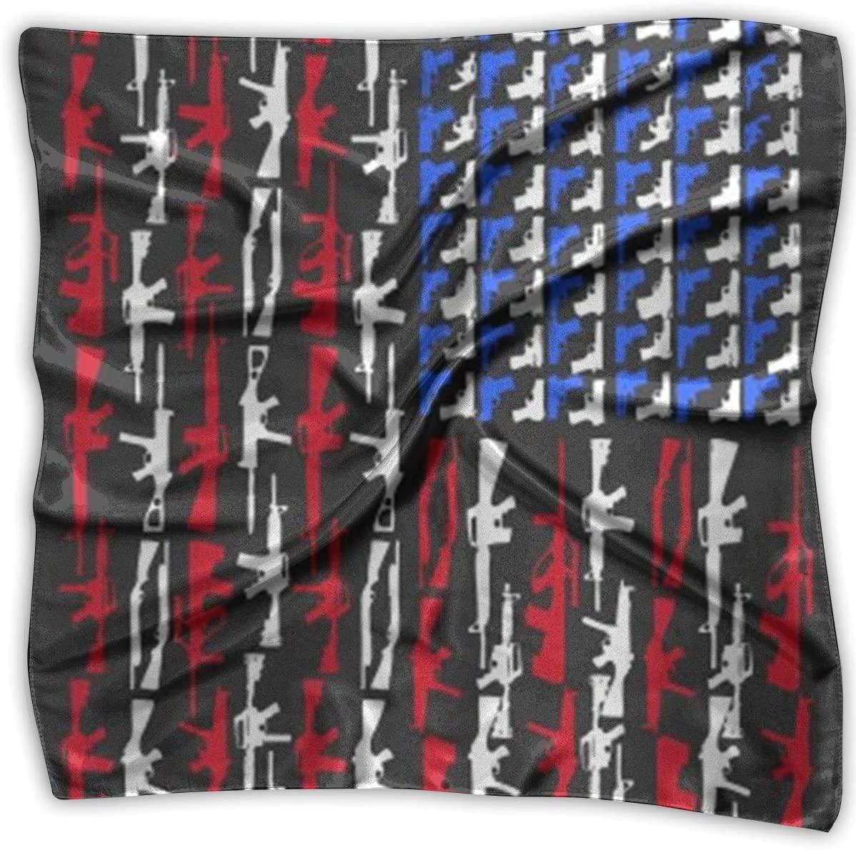 WFIRE Gun American Flag Square Handkerchiefs Scarf Shawl Bandanas Headscarf Neckerchief Tie Hair Scarf