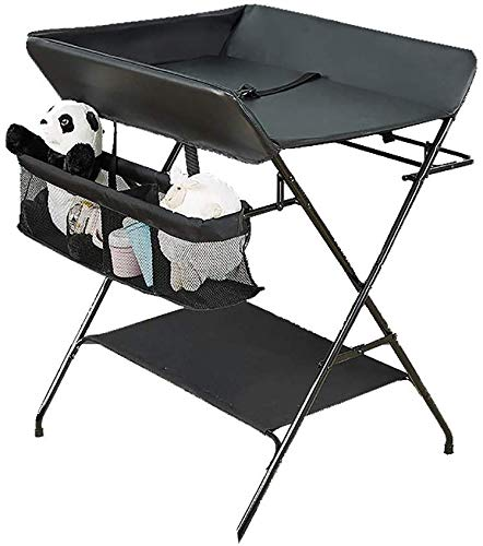 Changing table Baby Changing Table Foldable Diaper Stations Changing Unit PU Leather Cushion Nursery Dresser Organizer Black (Color : Black)
