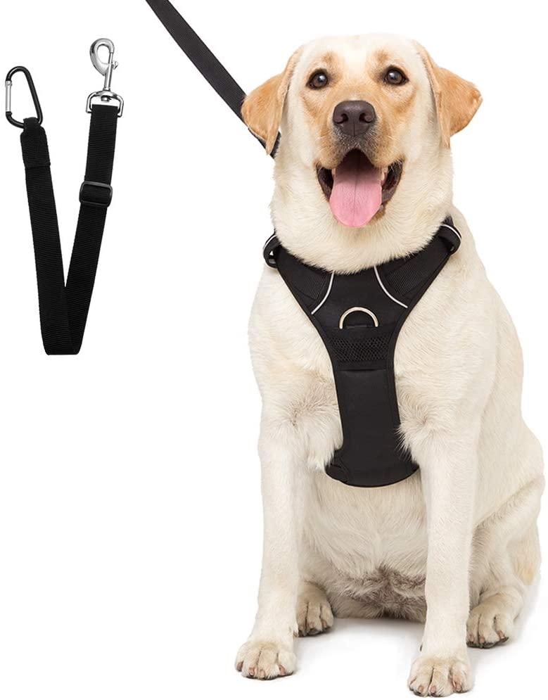SCENEREAL Dog Safety Harness with Car Vehicle Seat Belt - Adjustable Mesh Vest Travel Strap Lead