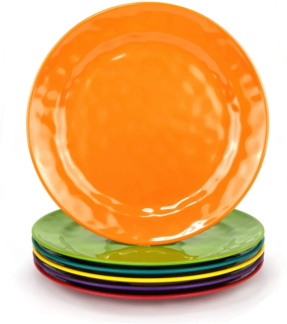 Melamine Plates Set of 6, 8-inch 100% Melamine Salad Plates for Everyday Use, Break-resistant and Lightweight , Multicolor