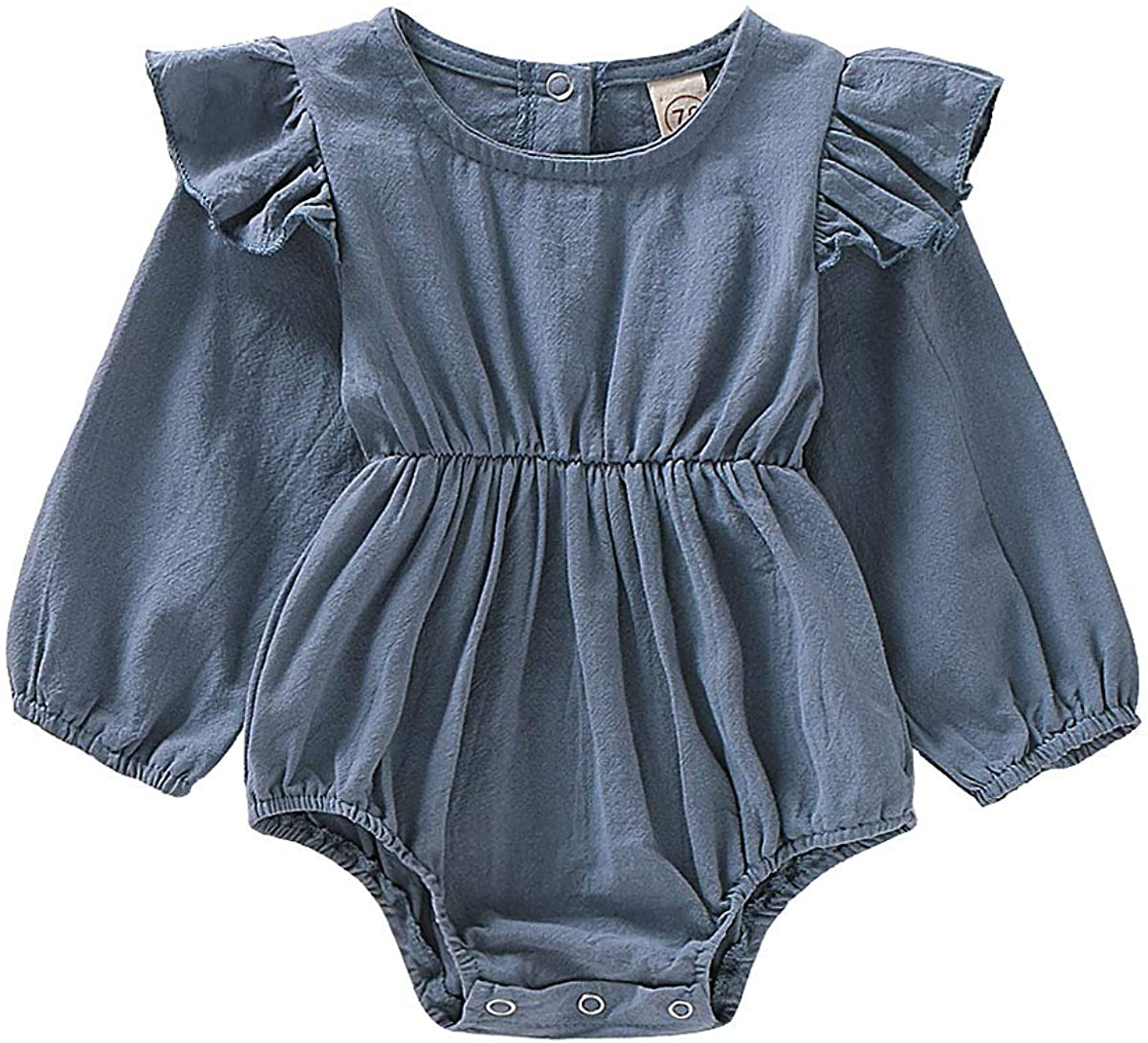 FOMOYUU Baby Girl Fall Romper Sweater Clothes Newborn Infant Ruffle Jumpsuit Autumn Spring