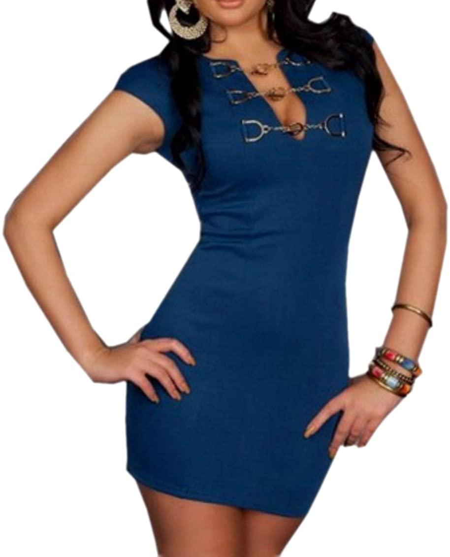 JJ-GOGO Chain Buckle T-Shirt Mini Dress Sexy Clubwear Dress