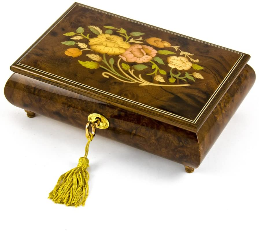 Handcrafted 18 Note Italian Walnut Floral Inlay Musical Jewelry Box with Lock and Key - Many Songs to Choose - Stand 8y Me