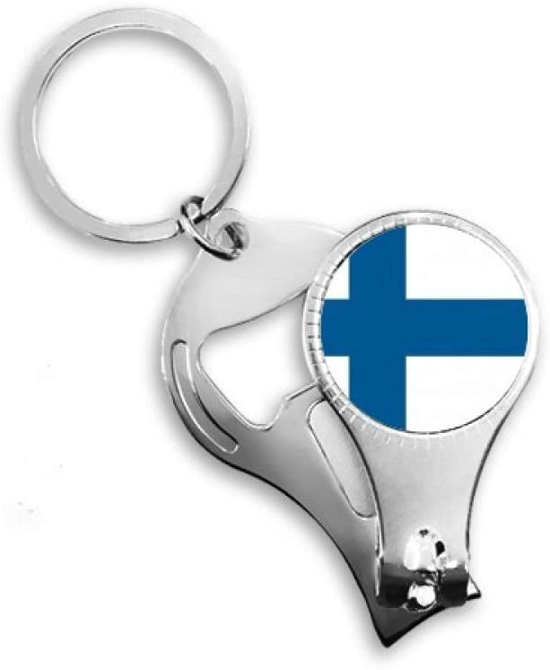 Finland National Flag Europe Country Nail Nipper Ring Key Chain Bottle Opener Clipper