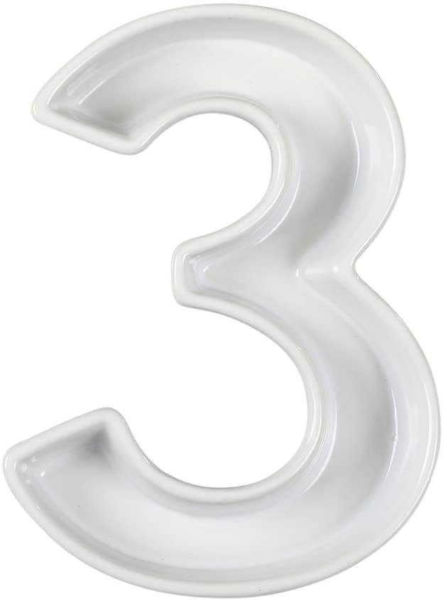 Ivy Lane Design Ceramic Dish Tray, Number 3, White