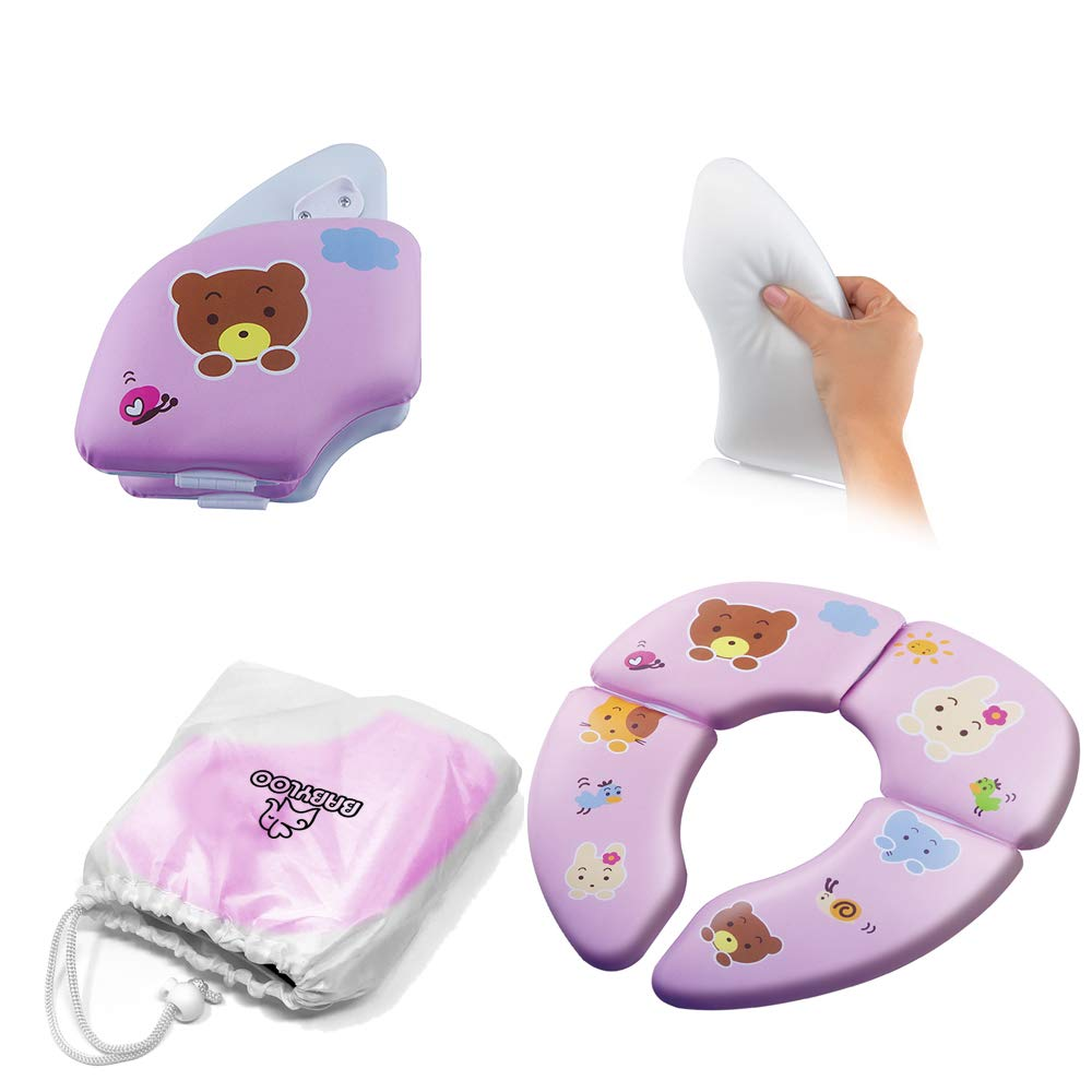 Babyloo Foldable Cushioned Potty Training Seat with Travel Bag (Animal Pink)