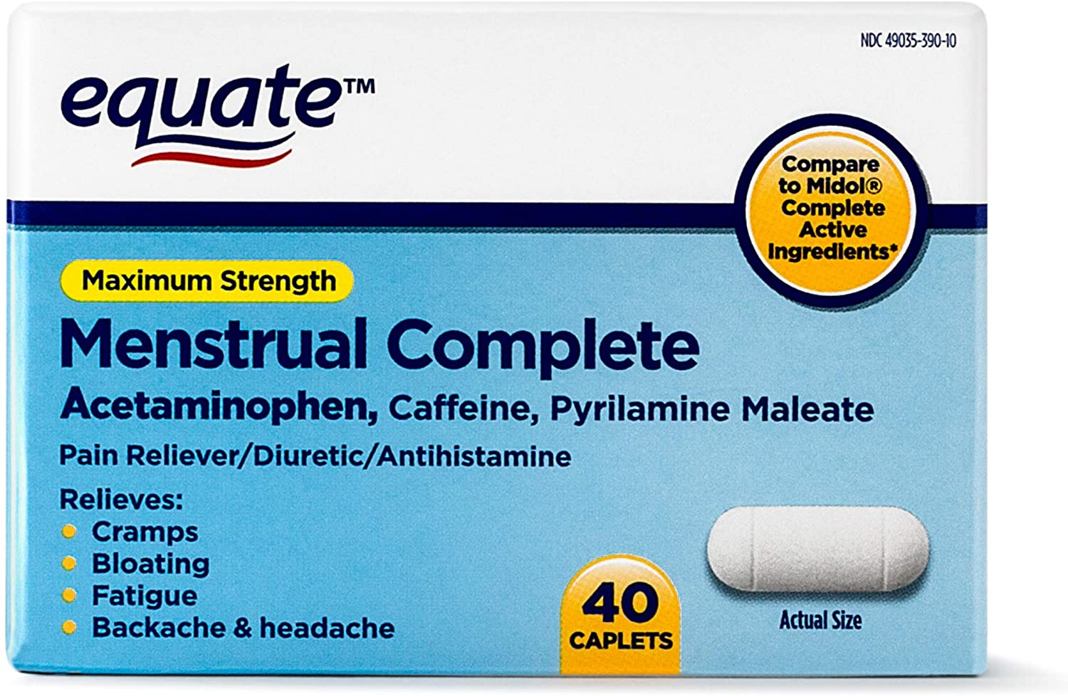 Equate - Menstrual Complete, 40 Caplets (Compare to Midol)