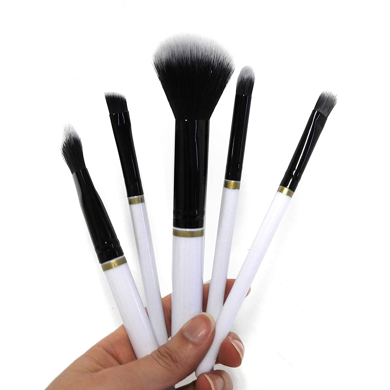 Five Piece Makeup Brush Collection - Embellished with Gold Metal Detailing
