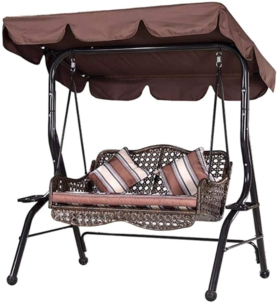 Patio Swing, Steel Frame with Adjustable Canopy, All Weather Resistant Swing Bench, Suitable for Balcony, Garden