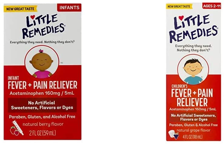 Little Remedies Infant Fever & Pain Reliever | Natural Berry Flavor | 2 FL OZ and LittleRemedies Childrens Fever & Pain Reliever withAcetaminophen| Grape | 4 FL OZ