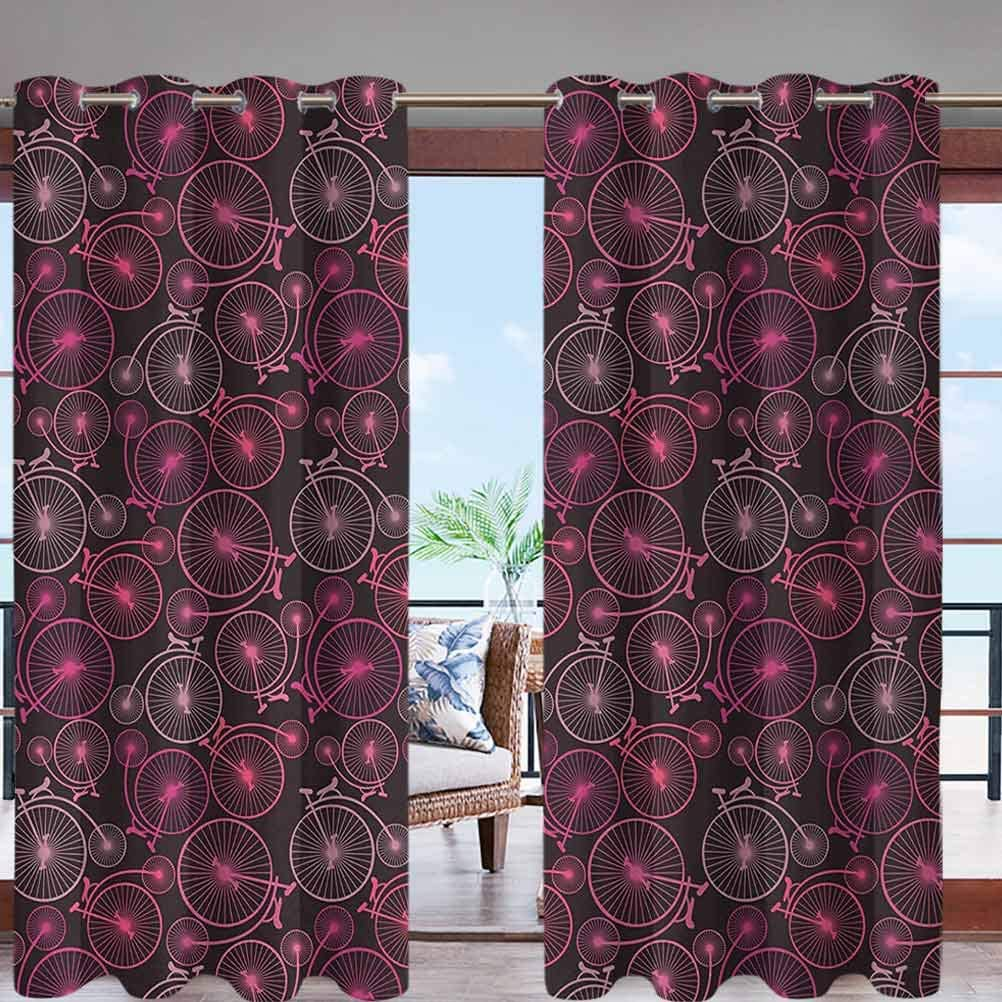 Dasnh Outdoor Curtain Anti-UV Windproof Curtains with Grommet Top Abstract Pattern of Vintage Bikes W84 x L84 for Porch Balcony Pergola Patio