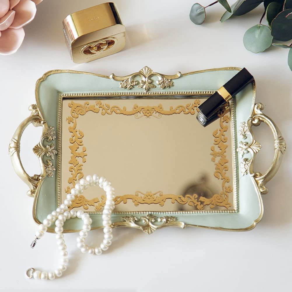 AMYDREAMSTORE Vintage Mirrored Jewelry Tray,Non-Slip Pattern Jewelry Holder Storage Box European Classical Home Decoration Accessories Desktop Golden Tray-A