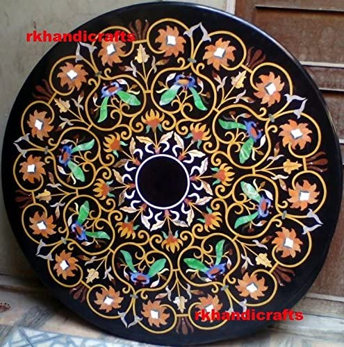 Black Rounded Dining Table Top Center Table can be Used in Hallway Room Marquetry Art with Floral Design 60 Inches