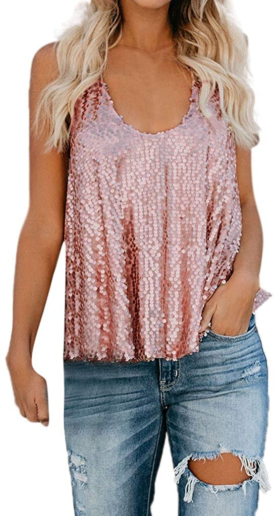 Women's Sequin Sparkle Sleeveless Tank Cross Back Blouse Tops Casual Loose Halter Backless Vest Shirts