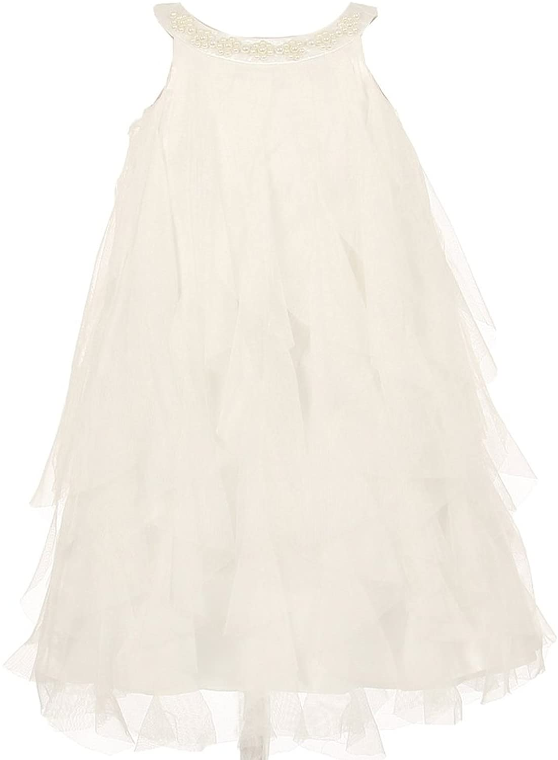 Kids Dream Mesh Ruffle Dress with Pearl Beading Ivory-4