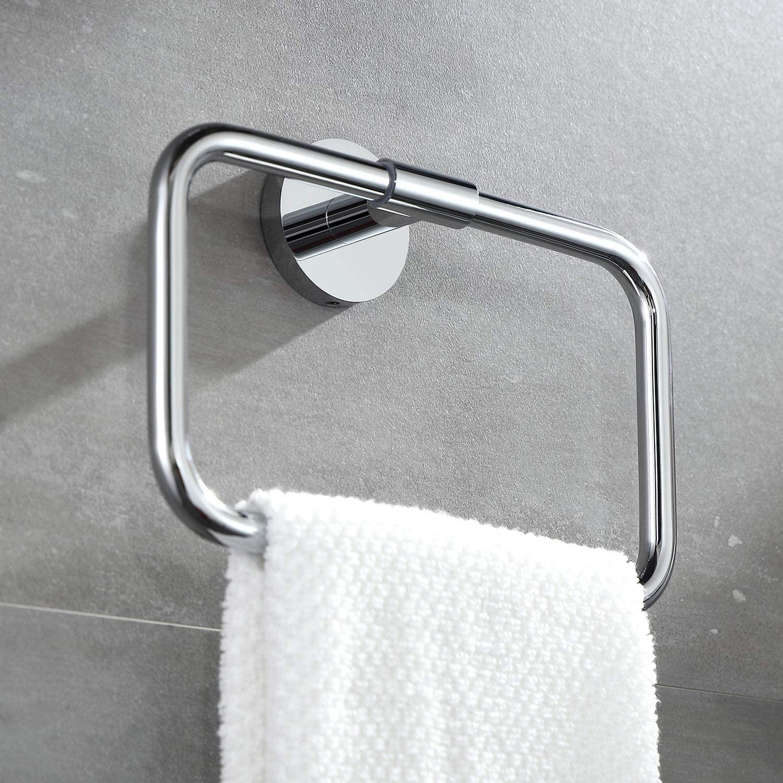 BUVELOT 077050-CR Leo Brass Bathroom Hand Towel Ring Wall Mount Modern,Chrome