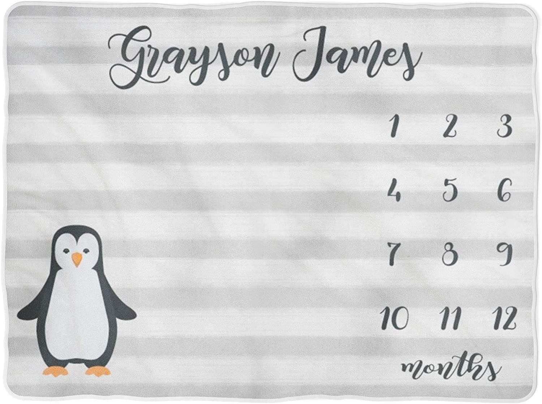 PipsyDesigns Boy Milestone Blanket Month Blanket Baby Baby Growth Tracker Soft Fleece Blanket Newborn Gift