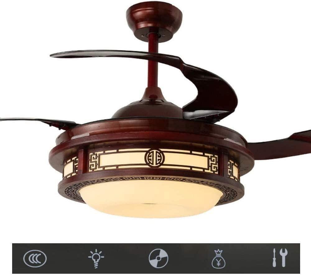 DAGCOT Retro Ceiling Fan Light, 36 inch Invisible Led Fan Light Vintage Chandelier for Living Room Dining Room Bedroom