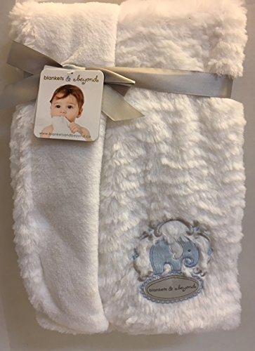 Blankets & Beyond White Rosette Blanket with Blue Elephant Applique