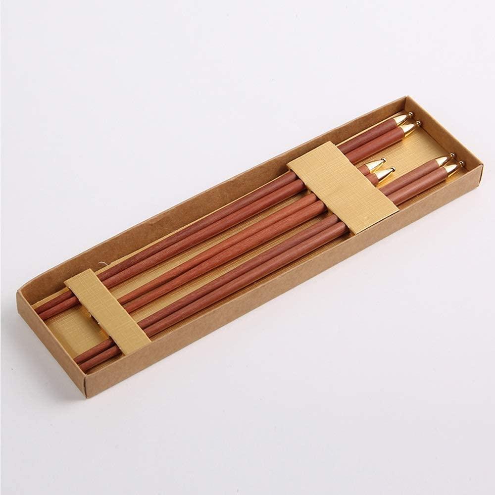 YiCanGg Chopsticks - Chinese High-end Red Sandalwood Gift Chopsticks Set, Environmentally Friendly/Non-Slip/high Temperature Resistant, Reusable, Portable Tableware Set, 3 Pairs Chopsticks