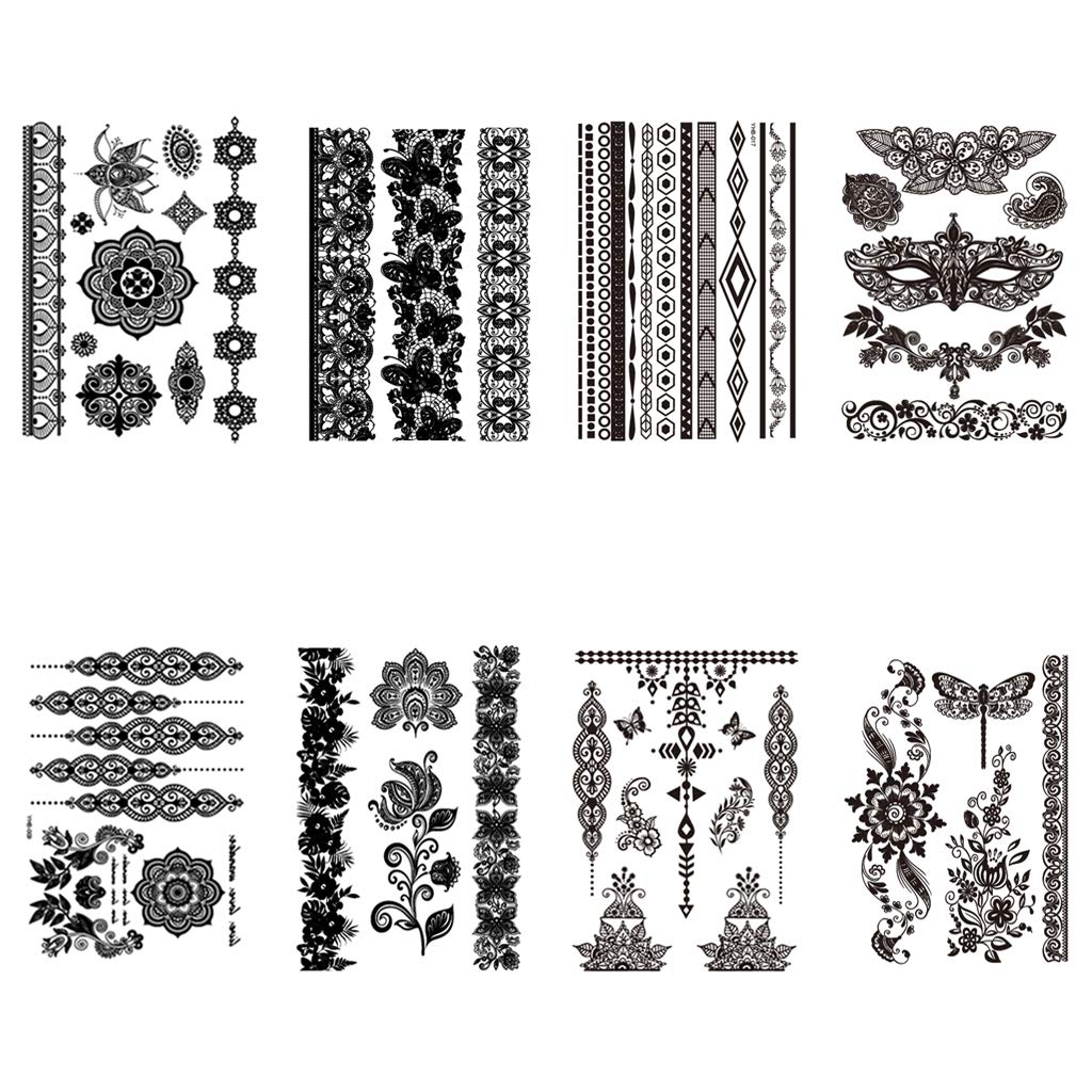 CARGEN 8 Sheets Unique Black Temporary Tattoo for Women Girls Black Lace Mehndi Fake Body Tattoo for Hand Arm Leg Mandala Flower Adults Sexy Tattoo Wedding Art Stickers for Festival Beach Party