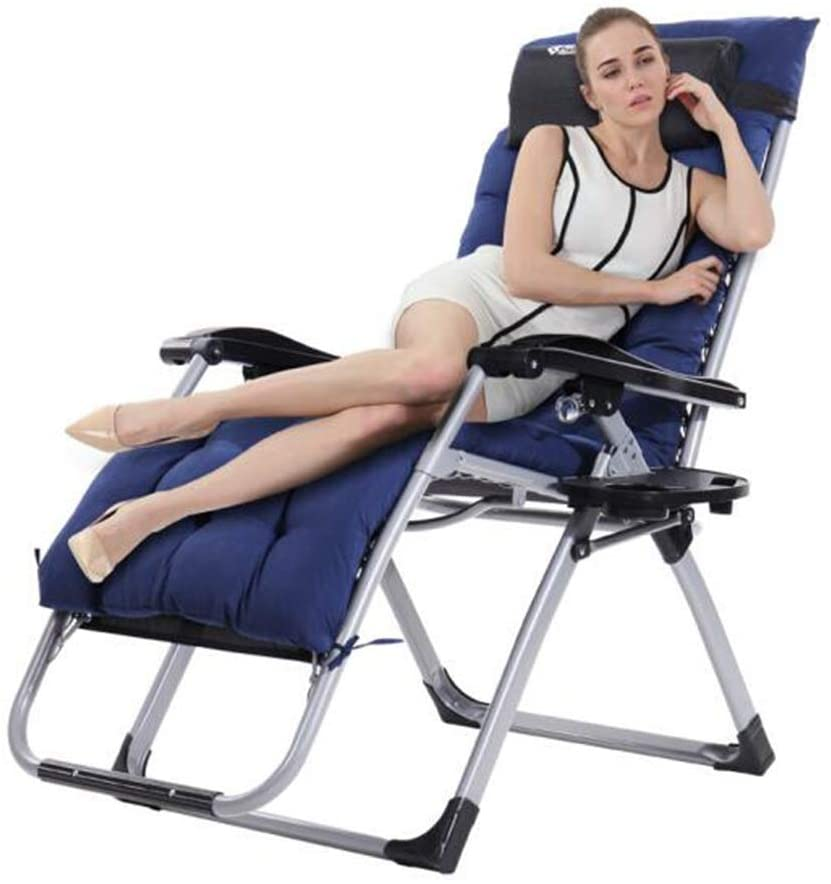 Sun Lounger Comfortable Zero-Gravity Recliner, Outdoor Foldable Adjustable Recliner Office Recliner Extra Wide with Blue Cushions Terrace Lounger Chair
