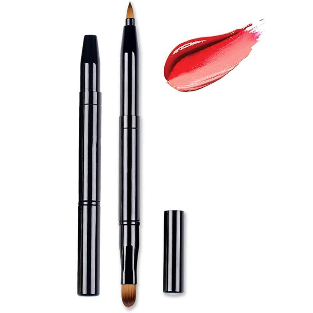 Lip Brushes Eye Brush 2-In-1 Makeup Brush Retractable Lipstick Liner Eyeshadow Concealer Makeup Travel Lipstick Gloss Brush Makeup Brush Tool Dual End With Cap