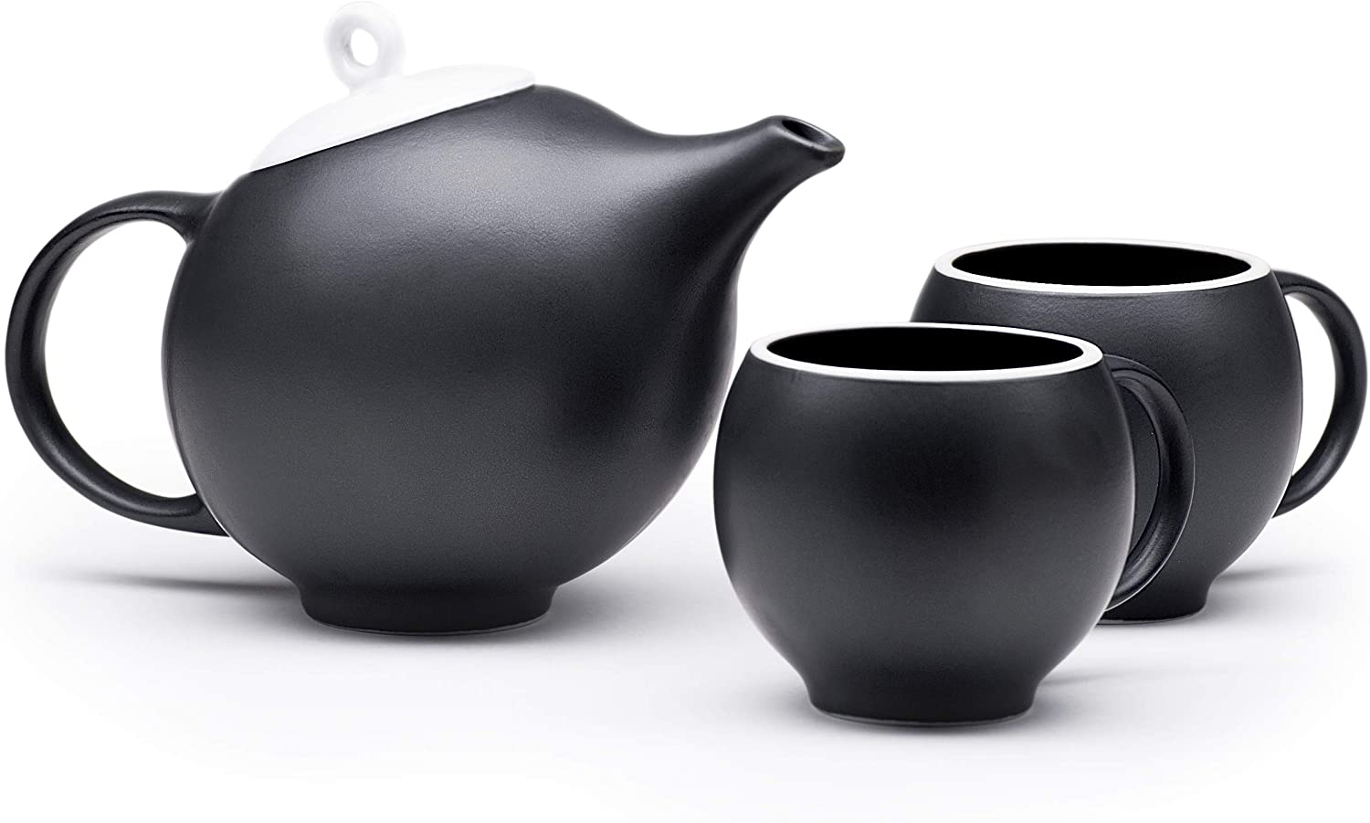 Maia Ming Designs | EVA Ceramic Teapot with 2 teacups and infuser, 20 oz. | Black Matte Stoneware with White Lid | Inspired by Eva Zeisel | Design Award